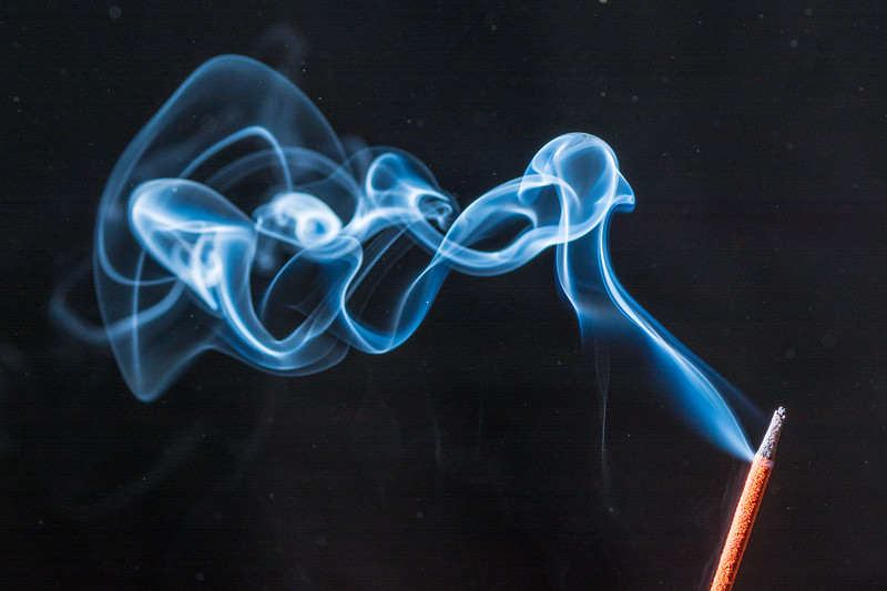 Smoke from a nearby stick of incense