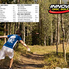 2013 Innova Disc Golf Product Catalog, page 3: I had submitted several photos to Innova Disc Golf as part of their 2013 Disc Golf Calendar Photo Contest. I was told by Innova that they didn't select any of my photos for their calendar, but they did select three of my photos for their 2013 Product Catalog.<br /> This photo is of my son, Cory, teeing off on hole eleven at Solitude. He got a hole in one on this throw!