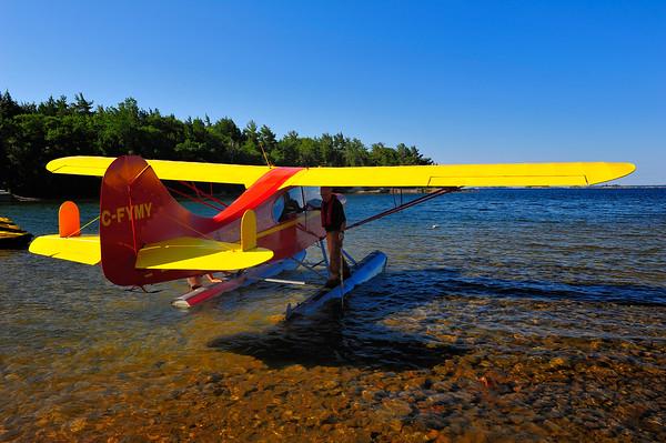 Plane on shore