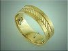 14K customer designed pattern for a yellow gold gents wedding band, made by Ron Litolff