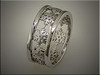 14K palladium white gold snowflake wedding band.  Made by Ron Litolff