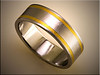 Stainless steel wedding band with 24K inlay by Tim Frank