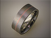 Stainless steel textured band with inlaid copper strip.  Inlay and finishing by Tim Frank.