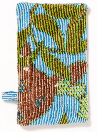 Breganwood Organics - Jacquard Collection Bath Mitt Design: Kangaroo - Blue Organic Cotton - OE-100 13cm x 18cm SRP INC GST - Was $21.90 - NOW $11.00