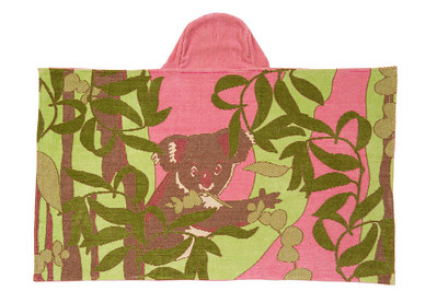 Breganwood Organics - Jacquard Collection Bath Wrap with Hood Design: Koala - Pink Organic Cotton - OE-100 69cm x 114cm SRP INC GST - Was $89.90 - NOW $55.00
