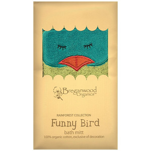 Breganwood Organics - Rainforest Collection Bath Mitt Design: Funny Bird Example of Packaging Organic Cotton - OE-100 13cm x 18cm SRP INC GST - $21.90