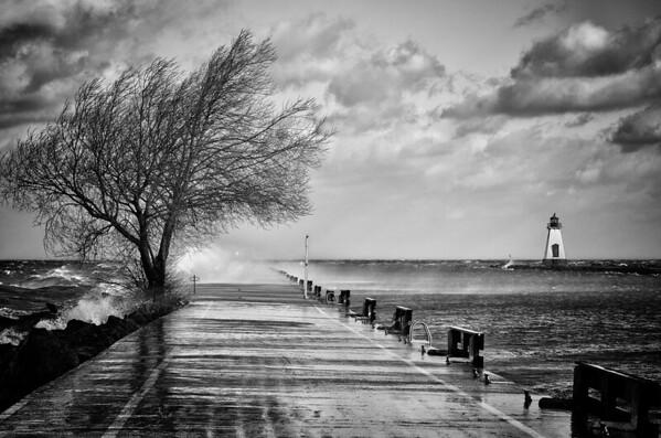 Port Dalhousie in storm - B & W