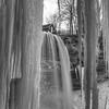 B& W of Falls through Ice