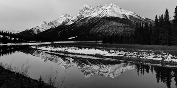 B&W of Mountains and river