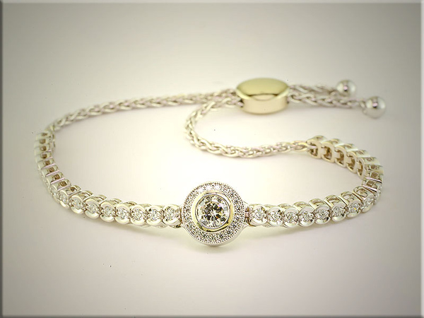 Exquisite 14K white gold Bolo style bracelet with diamonds by Tim Frank