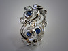 14K White Gold Diamond and Sapphire Scroll Band