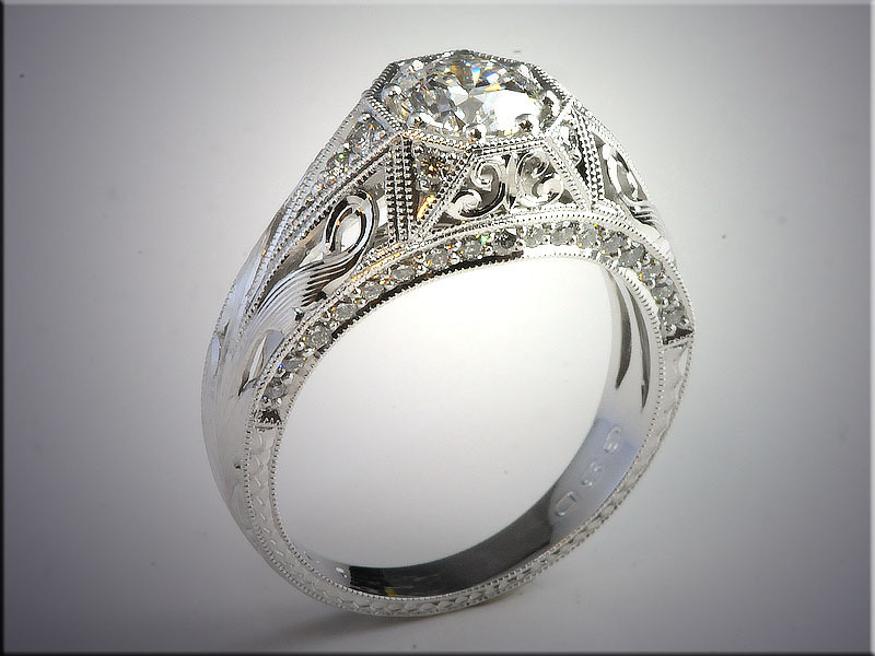 p502<br /> 14K White Gold Vintage Style Lady's Diamond Ring, Design by Tim Frank