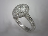14K White Gold Pear Shaped Diamond Engagement Ring with Multi Sided Pave Diamonds