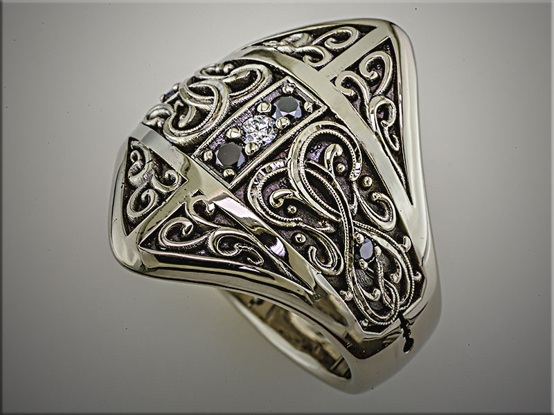 14K white gold custom Gothic wedding band with white and black diamonds, antique finished.  Designed and made by Ron Litolff.