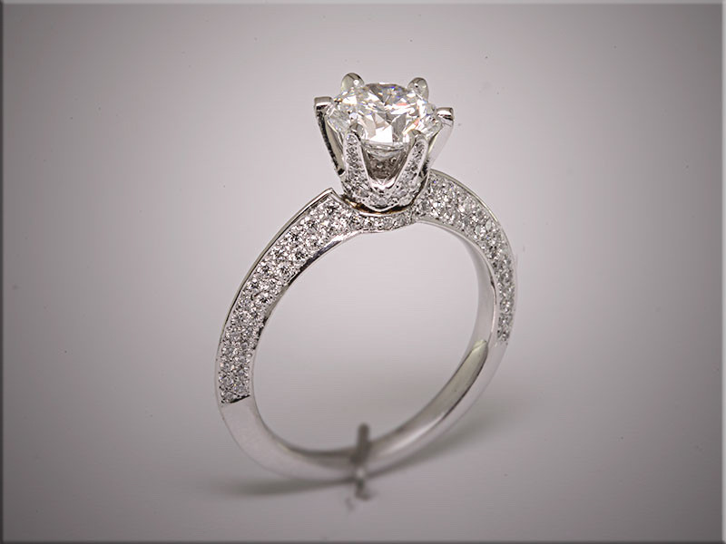 Exquisite platinum micro pave diamond ring with 166 ideal cut diamonds set pave style, by Ron Litolff