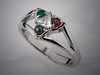14K White Gold Trinity Knot Ring with Trillion Shaped Diamond in Center surrounded by Ruby, Emerald and Black Pearl