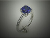 14K platinum custom ring with cushion shape sapphire and ideal cut diamonds in shoulders.  Designed and made by Ron Litolff
