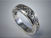 p521<br /> 14K White Gold relief style hand engraved scroll band, by Ron Litolff