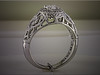 14K white gold halo designed diamond ring features a family tree on side.  Designed and made by Ron Litolff