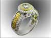 14K two-tone lady's diamond ring with 3 dimensional hand engraved scroll work
