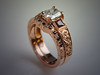14K Rose Gold Engagement Ring with Matching Diamond/Ruby Band