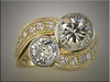 14K two tone remount of customers diamonds in a bypass style, bezels on main diamonds and bead and bright cut smaller diamonds, by Ron Litolff