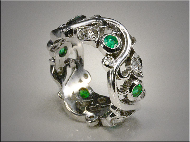 14K White Gold Floral band with Diamonds and Emeralds