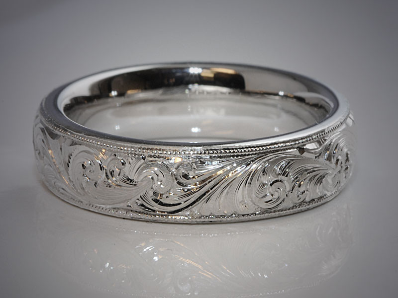 14K White Gold Comfort Fit Band with Hand Engraved Scroll Pattern