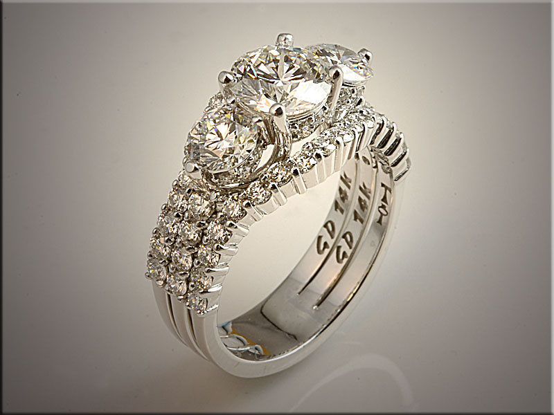 p515<br /> 14K White Gold Ladys Wedding Set.  Designed and Made by Tim Frank.