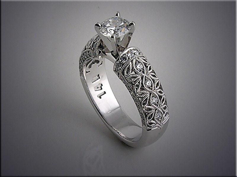 14K white gold filigree style engagement ring