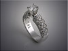 14K white gold filigree style engagement ring