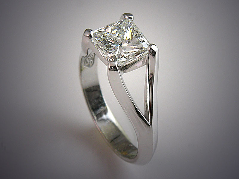 "p488<br /> 14K White Gold Contemporary Engagement Ring with ""Suspended"" Look"