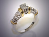14K White Gold Engagement Ring with Yellow Gold Accents