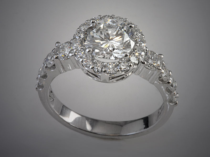 14K White Gold Diamond Engagement Ring with Diamond  Halo and Stepped Diamonds Going Down Shoulders