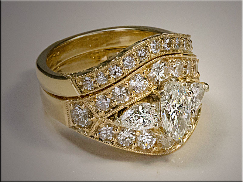 14K yellow gold custom diamond band for custom made engagement ring.  By Tim Frank
