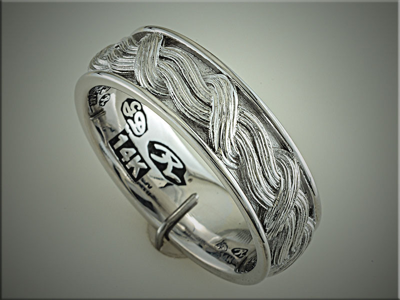 14K white gold custom gents wedding band with woven bark textured pattern.  By Ron Litolff