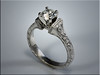 p525<br /> 14K White Gold Engagement Ring with Hand Engraving.  Designed and made by Ron Litolff.