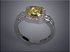 14K white gold canary diamond ring with emerald cut diamond set in 22K yellow gold