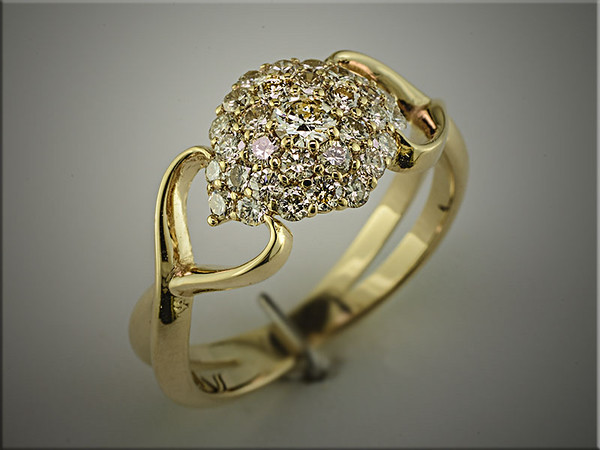 14K yellow gold multi diamond fashion ring for customers diamonds, designed and made by Ron Litolff