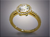 14K yellow gold engagement ring with halo of diamonds