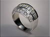 14K White Gold diamond ring, channel set baguettes with bead and bright cut diamond edges.  By Ron Litolff