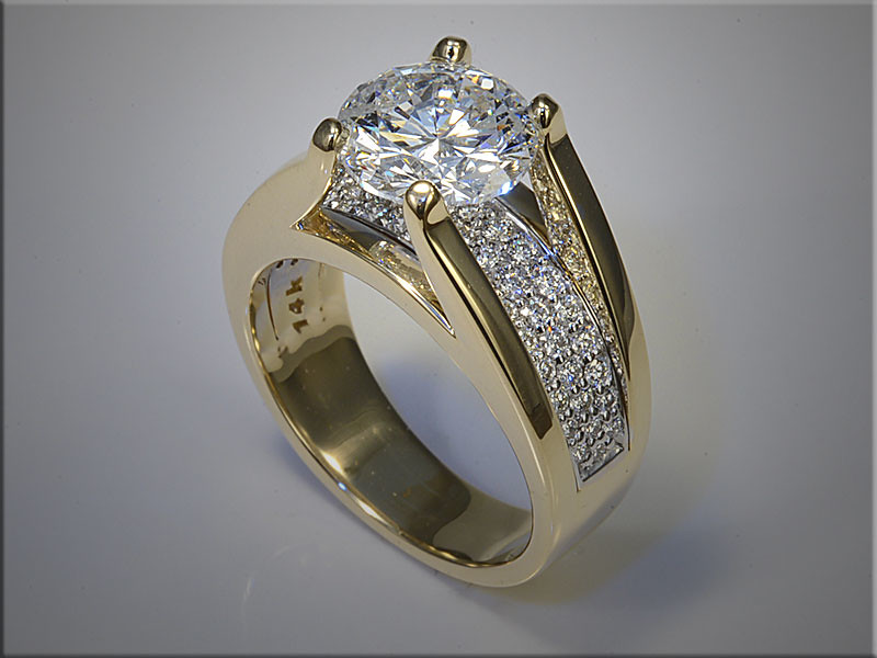 14K Yellow Gold Custom Made Engagement Ring, with row of Pave Diamonds below the center Diamond.  Designed and made by Tim Frank