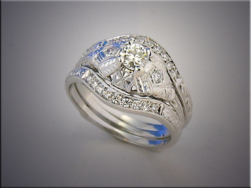 14K white gold custom bands for customer's engagement ring, set with diamonds