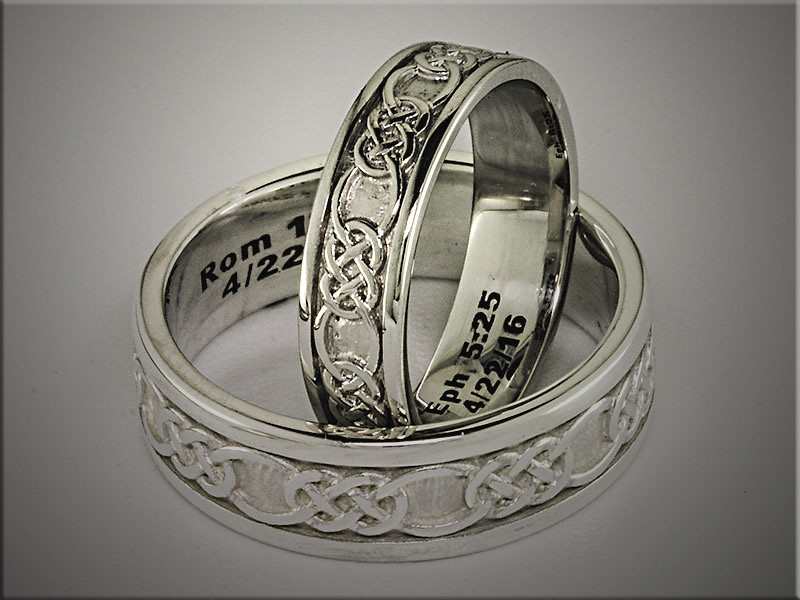 14K white gold matching bands with interlocking Celtic pattern.  Designed and made by Ron Litolff