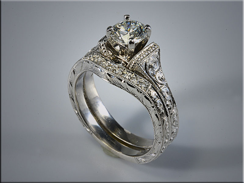 p523<br /> 14K White Gold Wedding Set, hand engraved.  Designed and mady by Ron Litolff