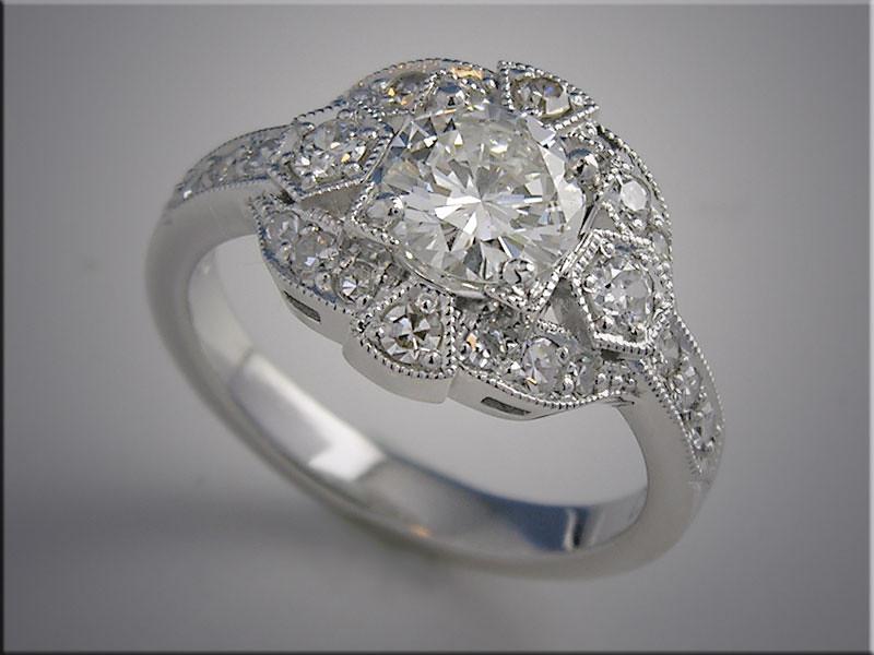 14K white gold diamond ring open design with vintage style