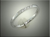 14K white gold diamond band designed for Lana Kohler, billiards trick shot artist, to complete rack with gents ring, by Ron Litolff
