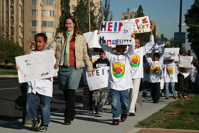 School children in the Adams Morgan neighborhood speak out on behalf of the homeless.