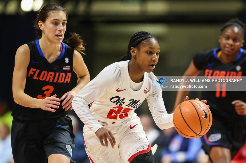 Mississippi's Alissa Alston (25) dribbles the ball against the Florida Gators.