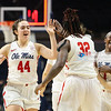 Mississippi's Torri Lewis (44) celebrates with her teammates after defeating the Florida Gators.